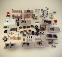 Kitchen accessories collection 3D Model