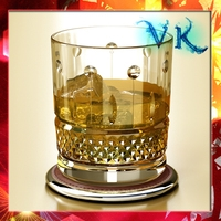 High Detailed Whisky Cut Glass and Chivas Coaster 3D Model