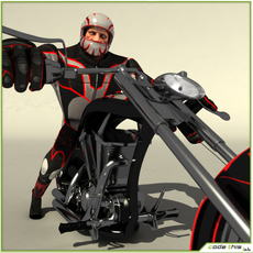 Biker Go Kart Chopper Package 3D Model