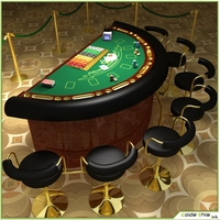 Casino Blackjack Table 3D Model