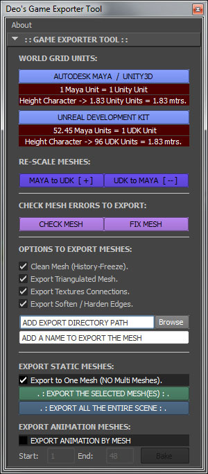 Deo's Game Engines Tool for Maya