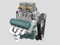 Chevrolet Big Block V8 Engine with Blower 3D Model