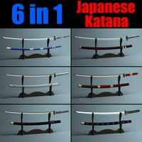 Japanese Katana Collection  3D Model