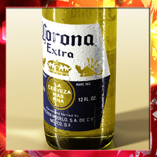 Corona Beer Bottle, Coaster and Lemon. 3D Model