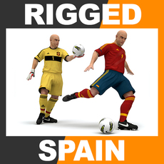 Rigged Football Player and Goalkeeper - Spain National Team 3D Model