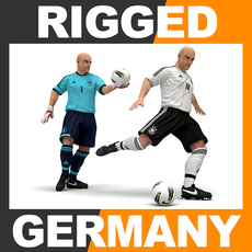 Rigged Football Player and Goalkeeper - Germany National Team 3D Model