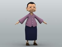 Cartoon Grandma 3D Model