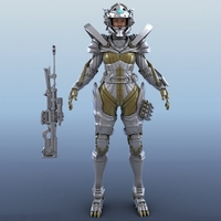 Armored Warrior Female 3D Model