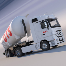 Mercedes Actros with tipping silo 3D Model