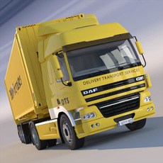DAF CF85 Semi truck with 45' ISO container 3D Model