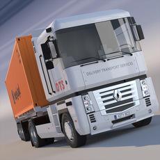 Renault Magnum Container Semi Truck 3D Model