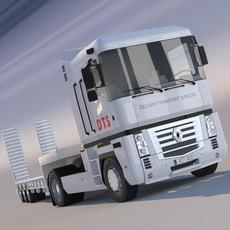 Renault Magnum Semi Truck Flatbed 3D Model