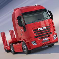 Iveco Stralis Flatbed semi truck 3D Model