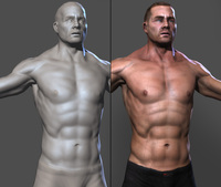 Muscled lowpoly Male character 3D Model