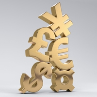 Stacked Currency Symbols 3D Model