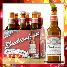 Budweiser Beer Bottle - Six Cardboard Pack 3D Model
