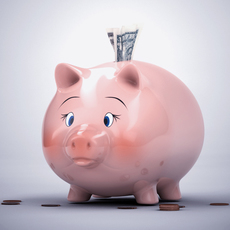 Piggy Bank with Money 3D Model