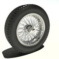 Borrani Wire-Wheel with Pirelli Cinturato 3D Model
