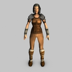 Low poly female warrior 3D Model