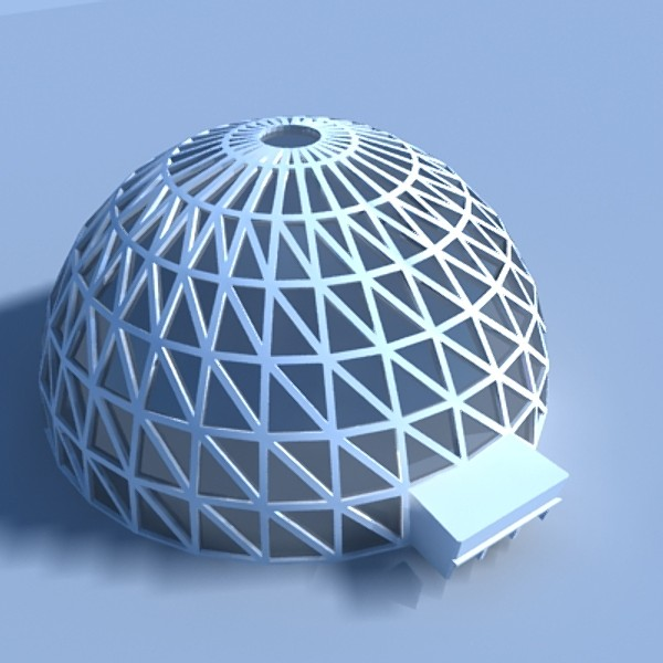 Geodesic Dome: Geodesic Dome Building 3D Model