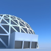 Geodesic Dome Building  3D Model