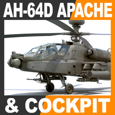 Boeing AH-64D Apache Longbow Helicopter with Cockpit 3D Model