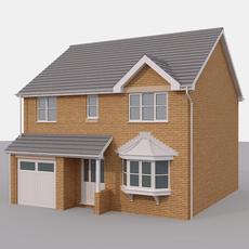 2 Story Brick House 3D Model