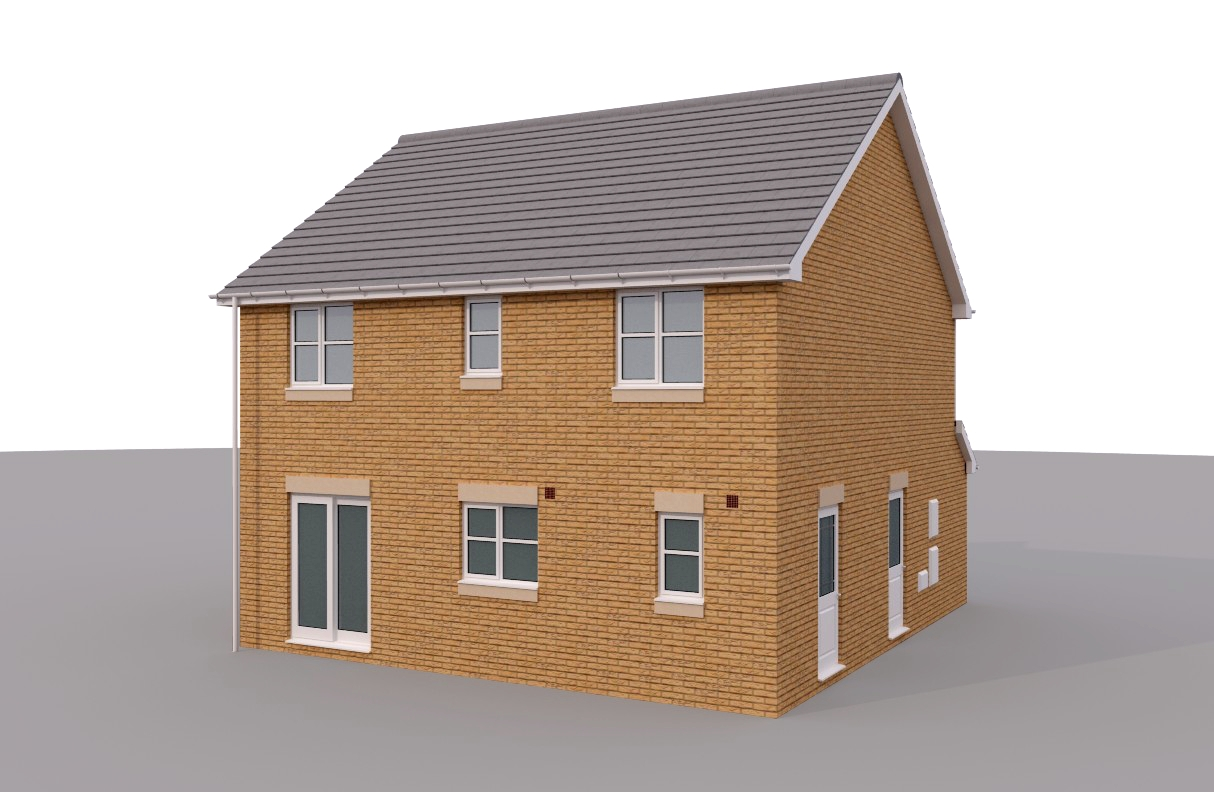 2 story brick house 3d model for Two story model homes