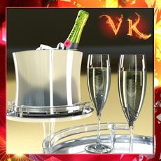 Champagne Set - Bottle, Flute and Ice Bucket. 3D Model