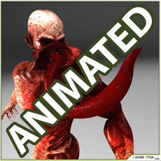 Humonaid Genetic Monster with tongue Animated with 6 animations 3D Model