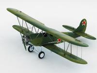 Polikarpov po-2 soviet biplane 3D Model