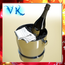Champagne Set 3 - Bottle, Flute and Ice Bucket. 3D Model
