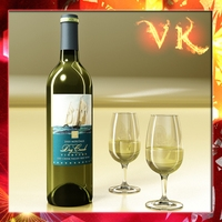 White Wine Bottle and Cup 3D Model