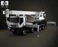 Iveco Trakker Crane Truck 4-axis 2012 3D Model
