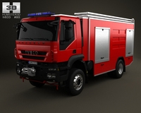 Iveco Trakker Fire Truck 2-axis 2012 3D Model