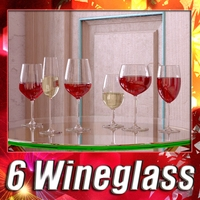 6 Wine glass Collection  3D Model