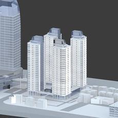 Multiple Skyscrapers City Scene - no textures 3D Model