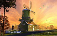 Windmill House on Farm Scene 3D Model