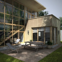 2 story modern house with lots of glass windows 3D Model