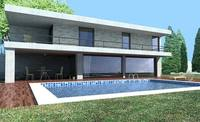 Modern 2 story house with pool 3D Model