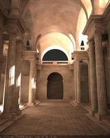Inside Marble Hallway with Columns 3D Model