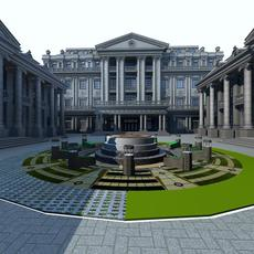 City style building with fountain - Architecture 020 3D Model
