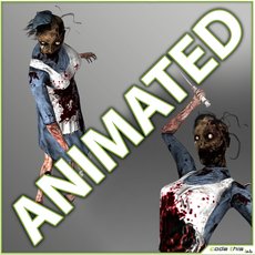 Animated Zombie Nurse - 14 animated poses 3D Model