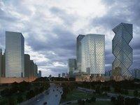 Glass Skyscrapers Cityscape 358 3D Model