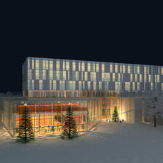 Winter Night Building Exterior Scene 362 3D Model