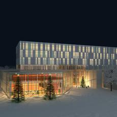 Winter Night Building Exterior Scene 362 3D Model