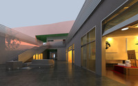 Modern Office Building Courtyard 368 3D Model