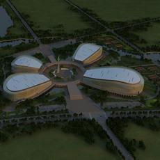 Aerial View Building Complex 369 3D Model