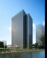 Tall Modern Building and River 425 3D Model