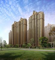 Apartment Buildings and Park 431 3D Model